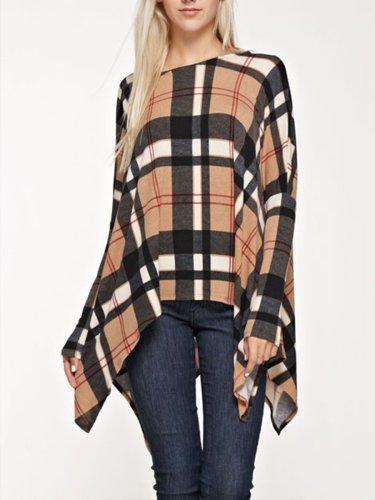 Fashion Grid Woman Long Sleeve T-shirts