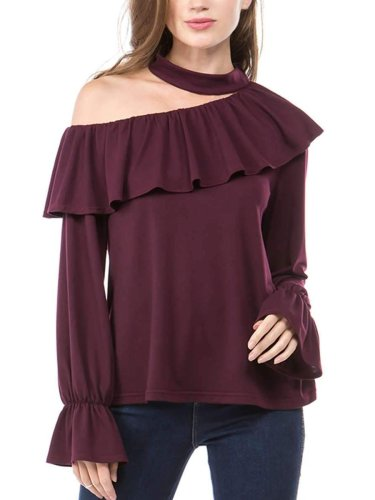 Sloping shoulder Flare sleeve T-Shirts