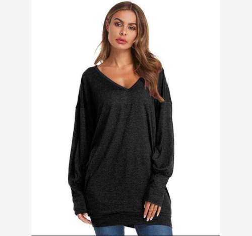 Casual Loose Pure Round neck Long sleeve Plus T-Shirts
