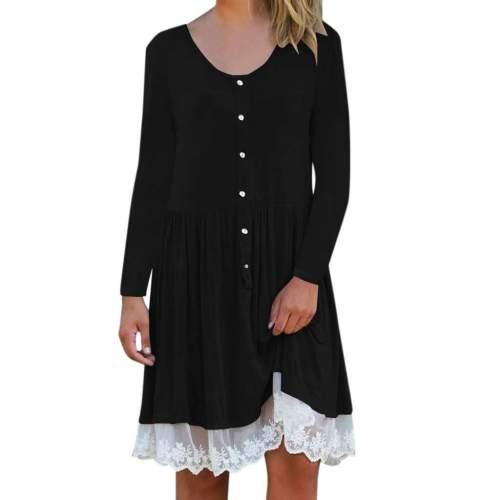 Fashion Gored Lace V neck Long sleeve Fastener Shift Dresses