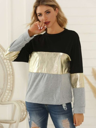 Fashion Gored Long sleeve Round neck T-Shirts