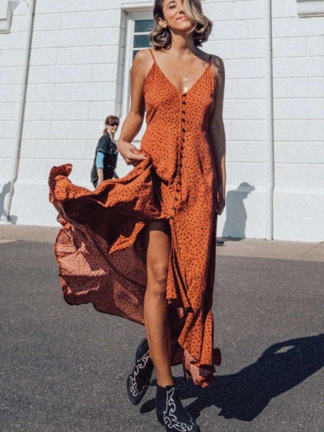 Fashio Point print Vest Fastener Falbala Maxi Dresses