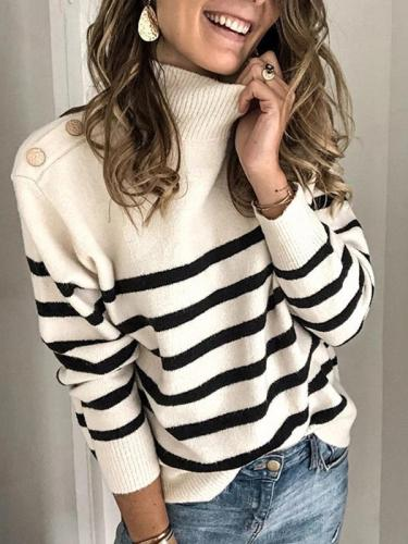 Chic high neck women long sleeve stripe sweaters