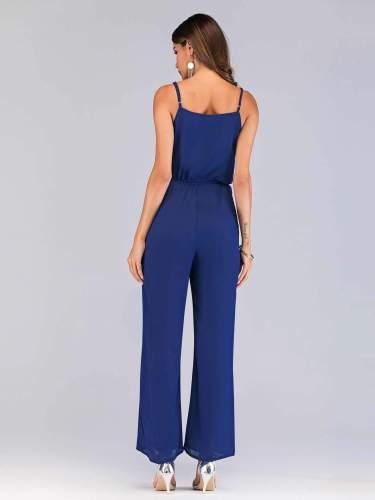 Fashion Pure V neck Vest Vent Jumpsuits