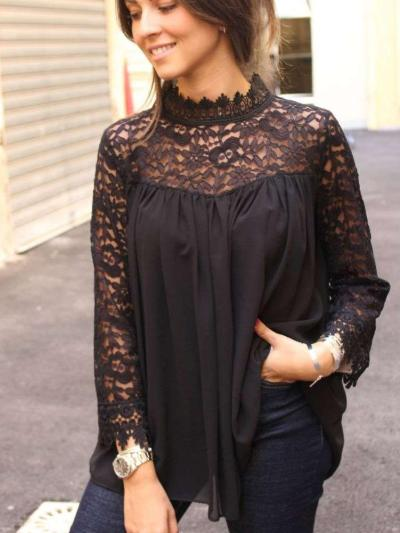 Sexy Casual Pure Lace Hollow Long sleeve T-Shirts