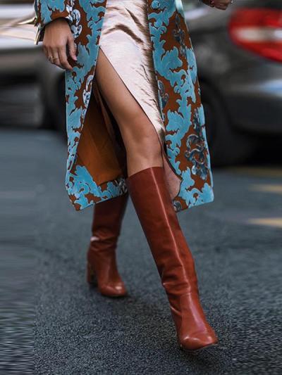 Fashion British style turn down collar printed long sleeve coats