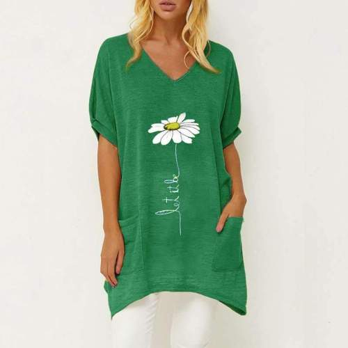 Casual Print V neck Short sleeve Pocket Shift Dresses
