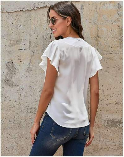 Pure V neck Fastener Short sleeve Falbala T-Shirts