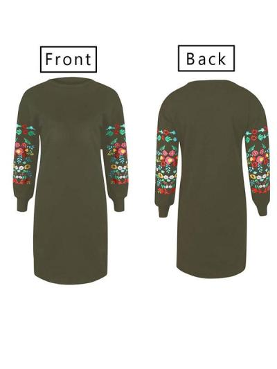 Loose Sexy Long Sleeve Flower Stitchwork Fashion Shift Dresses