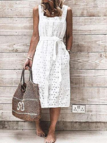 Casual Pure Hollow out Sleeveless Vest Lacing Shift Dresses
