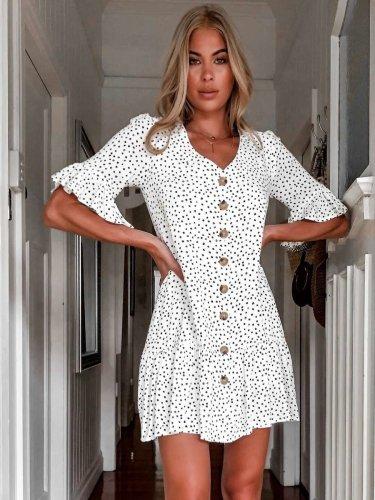 Fashion Point Print V neck Falbala Half sleeve Shift Dresses