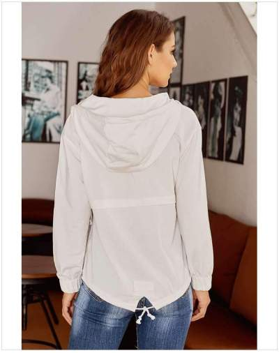 Loose Pure Fastener Long sleeve Hoodies & Sweatshirts
