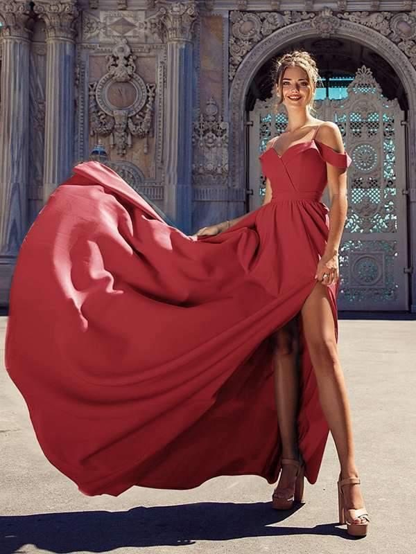 Stylish Women Long Plain Sexy Strapless Evening Dresses