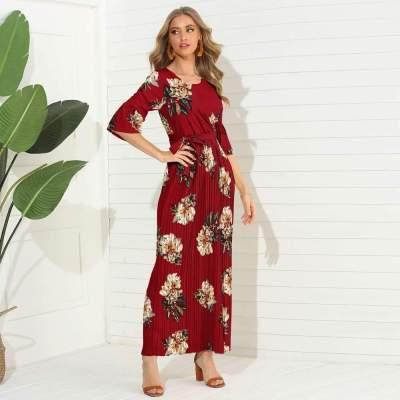 Fashion Print Round neck Half sleeve Maxi Dresses