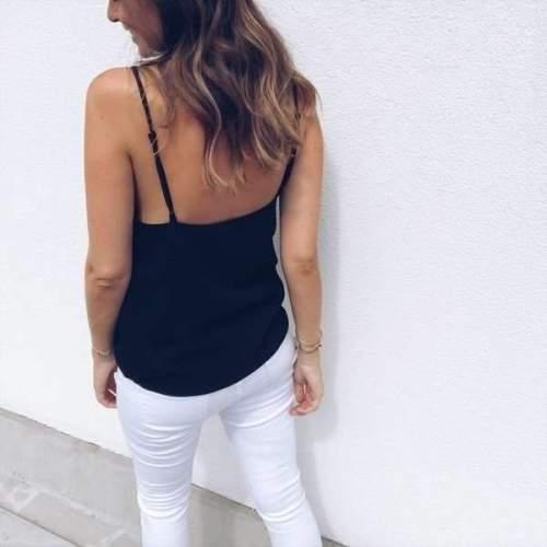 Casual Pure V neck Backless Vests