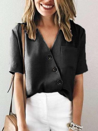 Fashion Irregular V neck Blouses