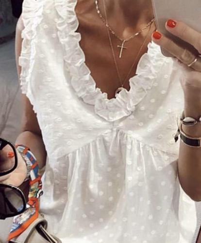 Fashion Point print Stringy selvedge Sleeveless V neck Blouses