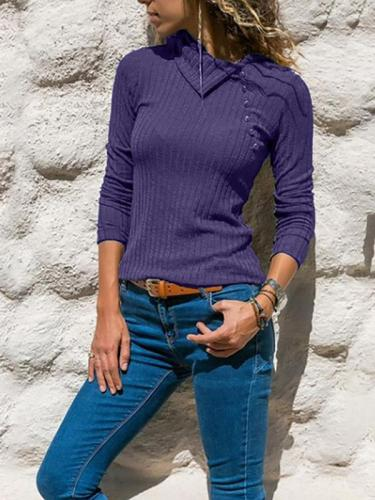 Plain Long Sleeved Button-down Sweater