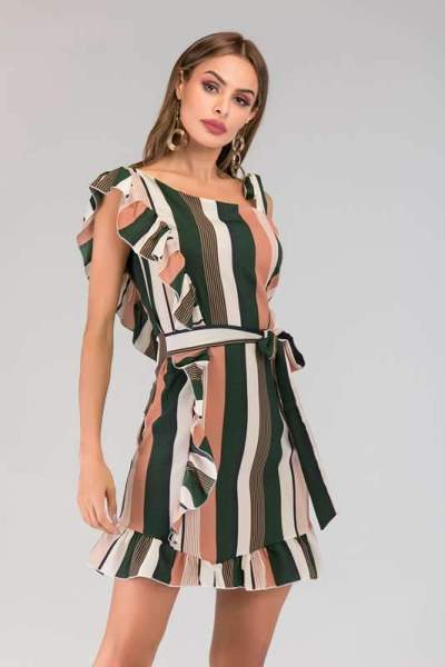 Fashion Stripe Falbala Lacing Skater Dresses