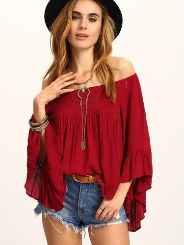 Pure Off shoulder Ruffle sleeve T-Shirts