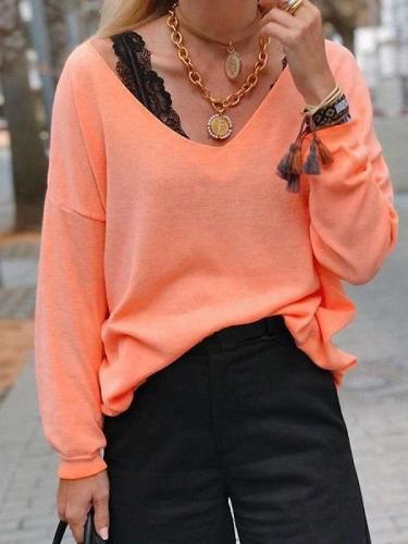 Casual Pure V neck Long sleeve T-Shirts