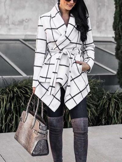 Fashion Loose Plaid Belt Coats