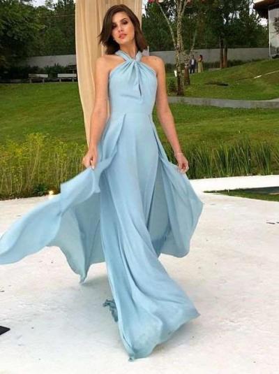 Sexy Vent Backless Halt Maxi Dresses