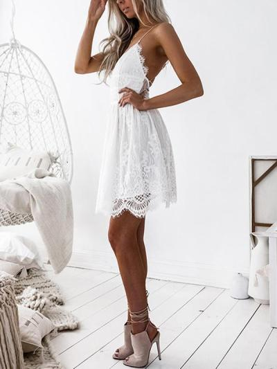 Women v neck Hollow-out backless lace skater dresses