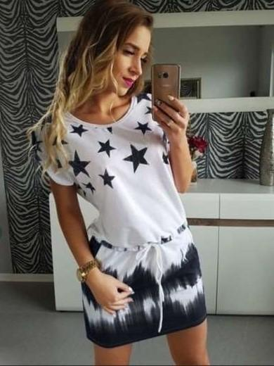 Fashion Print Round neck Short sleeve Slim Lacing Shift Dresses