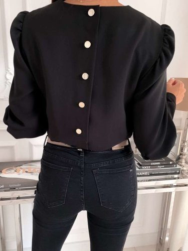 Fashion Long sleeve Round neck Back fastener Blouses