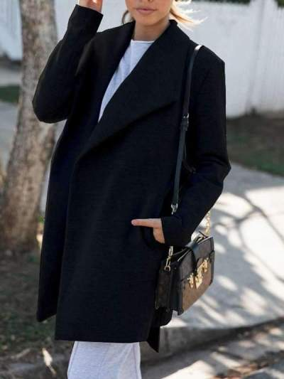 Stylish women fashion big lapel long coats
