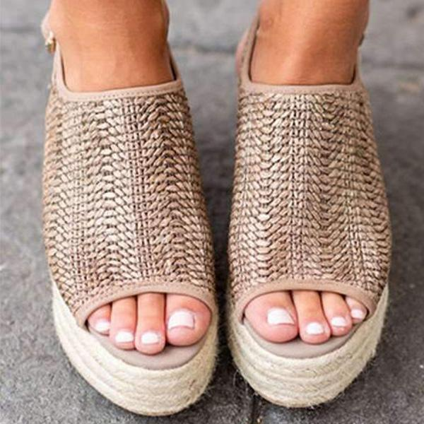 Women Bohemian Peep Toe Casual Date Platform Sandals