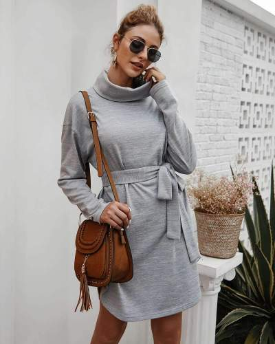 Fashion Pure Lacing High collar Long sleeve Knit Skater Dresses