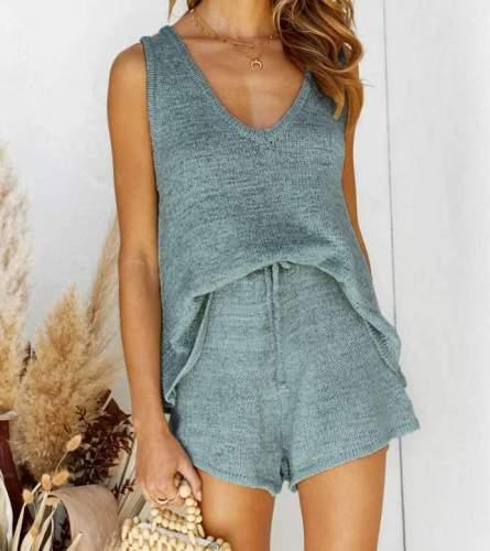 Casual V neck Sleeveless Knit Vest&Pants Suit
