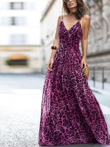 Sexy  Sleeveless Leopard Print Maxi Dress