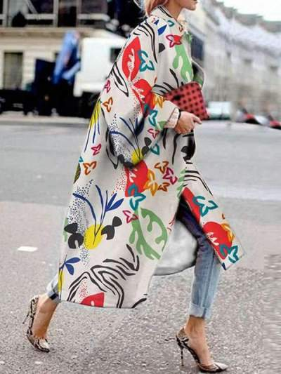 Stylish Printed long women turn down collar coats