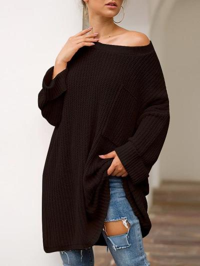 One off shoulder plain long sleeve pocket design sweaters