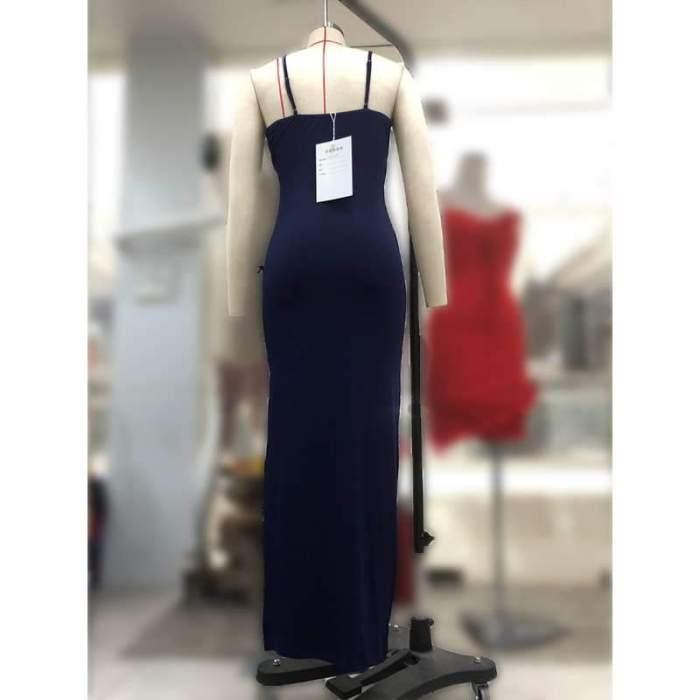Sexy Vent Drape Vest Evening Dresses