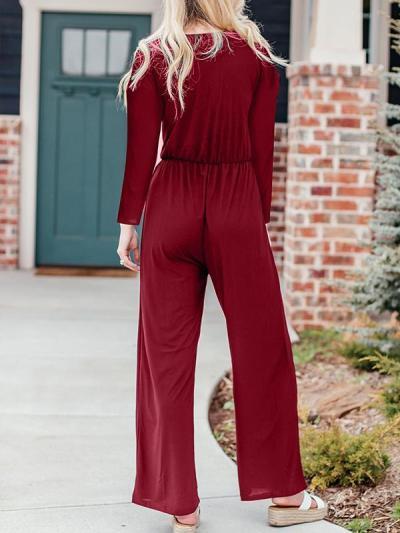 Button plain v neck fashion women long sleeve jumpsuits