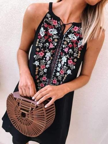 Fashion printed sleeveless lace casual shift dresses