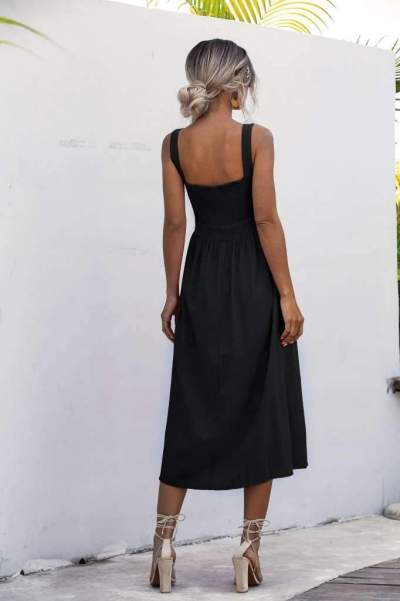 Fashion Pure Vest Square collar Backless Maxi Dresses