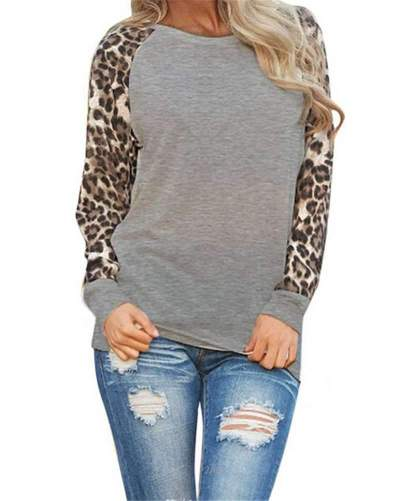 Loose Plus Leopard Print Long sleeve T-Shirts