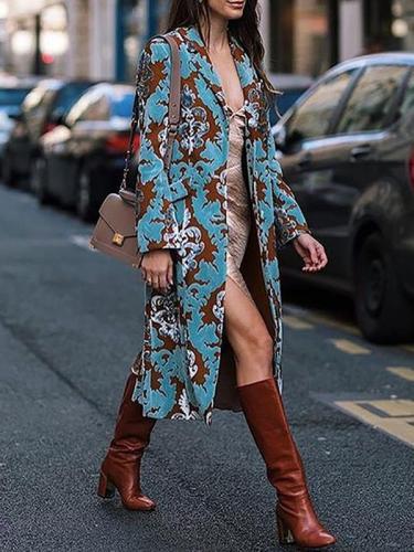 Women elegant long big lapel printed coats
