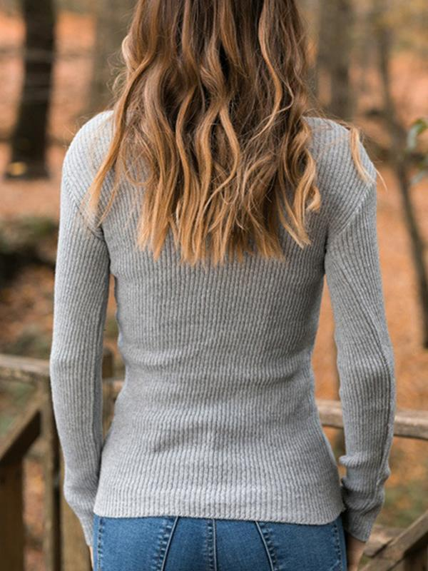 Warm high neck women long sleeve sweaters