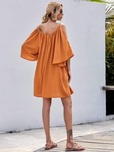 Casual Pure Off shoulder Vest Half sleeve Shift Dresses