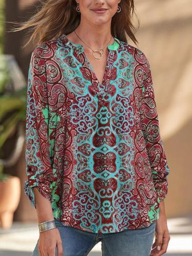Women v neck printed long sleeve blouses