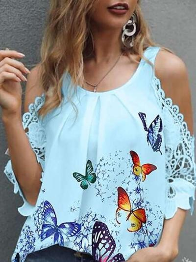 Casual Loose Print Round neck Off shoulder Short sleeve T-Shirts
