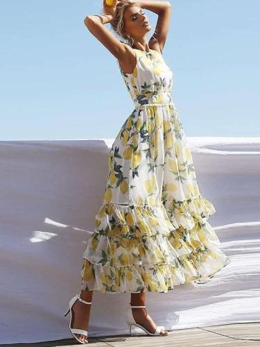 Sexy Sleeveless Print Skater Dresses