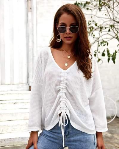 Pure V neck Knit Long sleeve Lacing T-Shirts