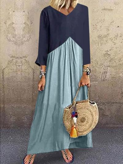 Patchwork color irregular long sleeve maxi dresses